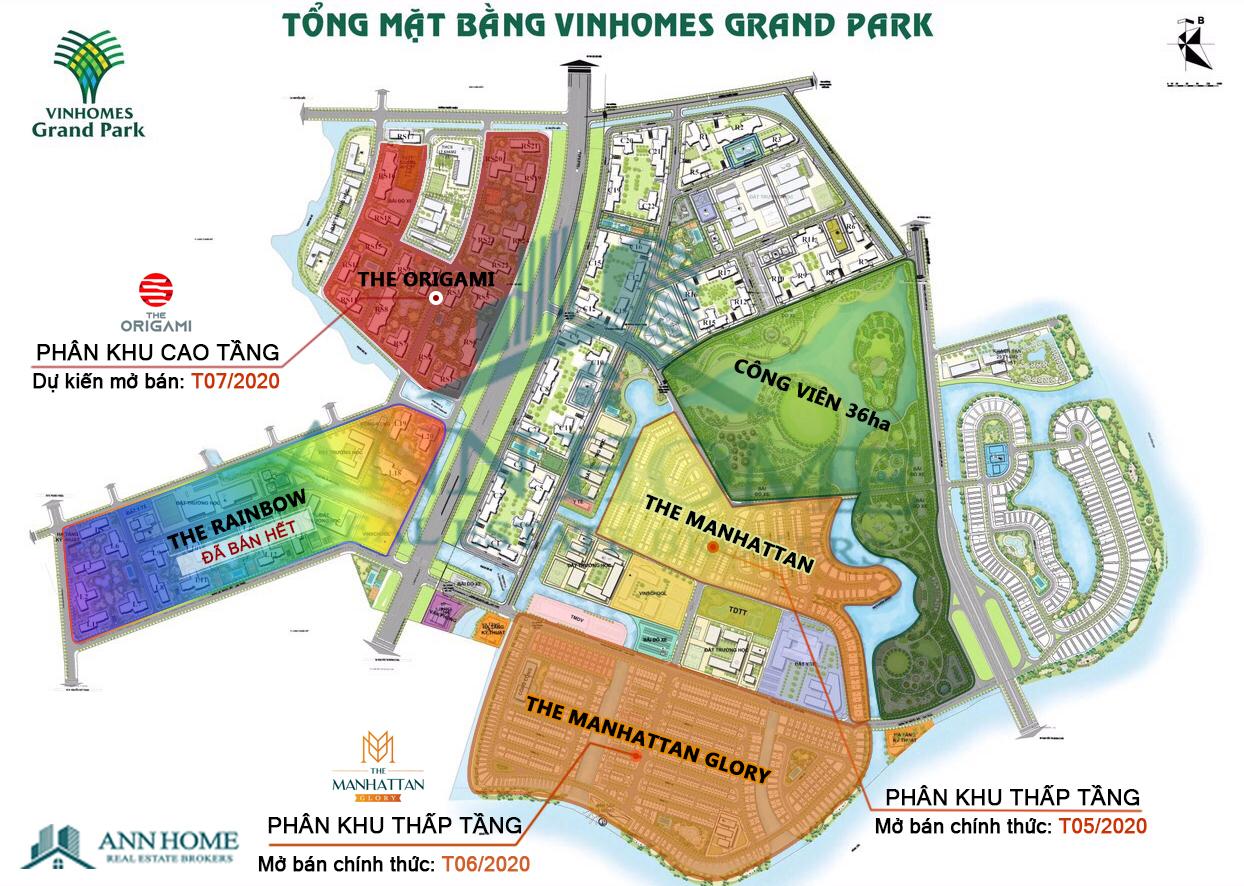 Mặt bằng tổng thể các phân khu tại Vinhomes Grand Park