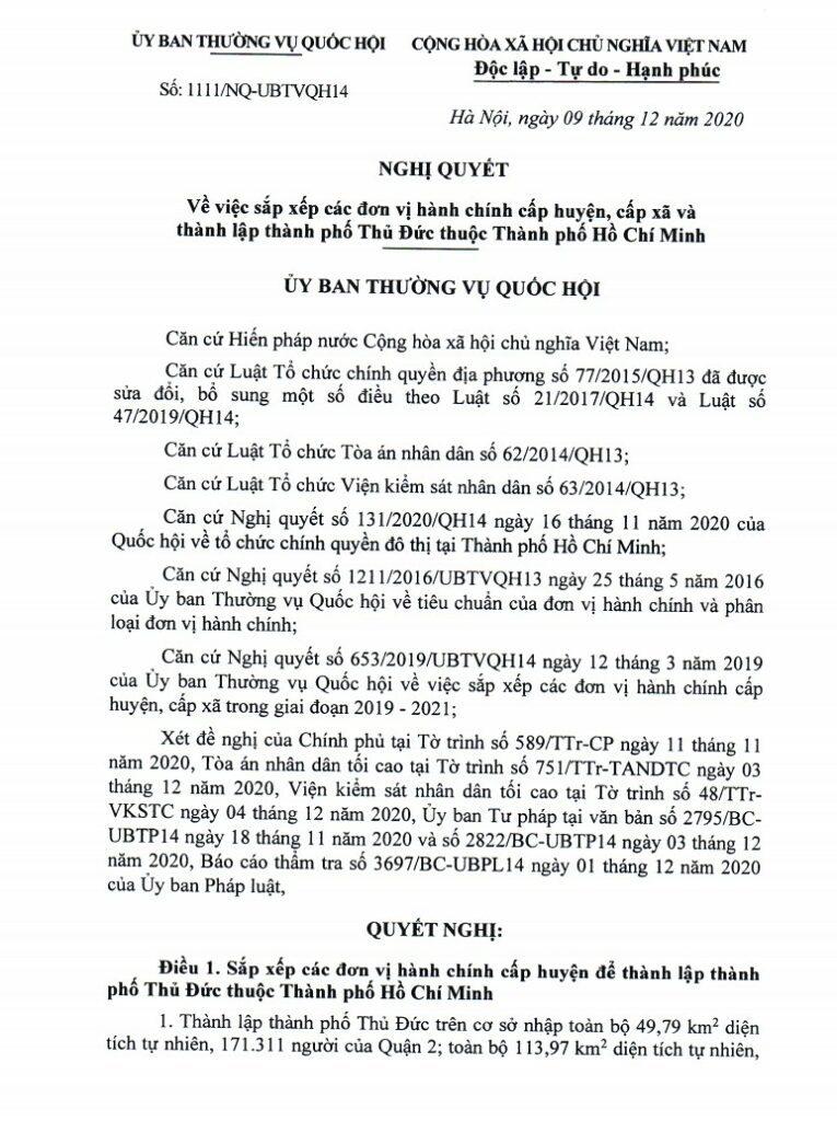 Nghị quyết thành lập thành phố Thủ Đức 1111/NQ-UBTVQH14